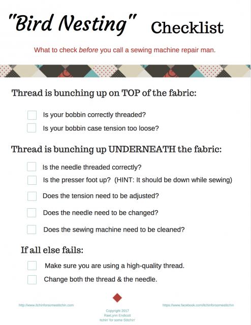 Birdnesting Checklist by www.itchinforsomestitchin.com