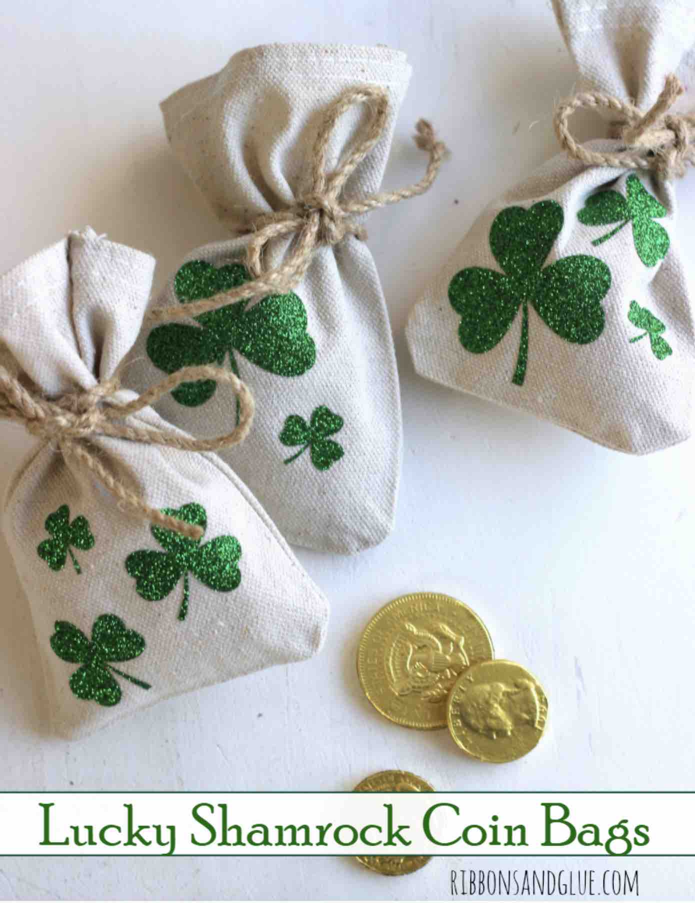 Shamrock Coin bags by Ribbons and Glue