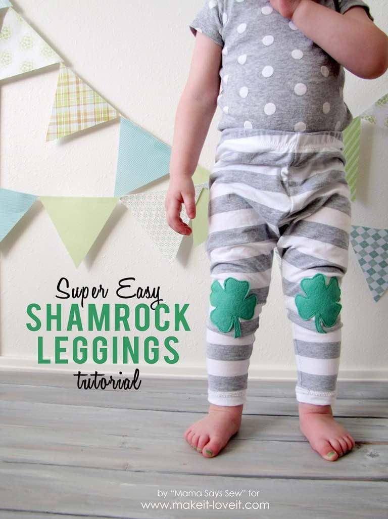 Super Easy Shamrock Leggings by Mama Says Sew