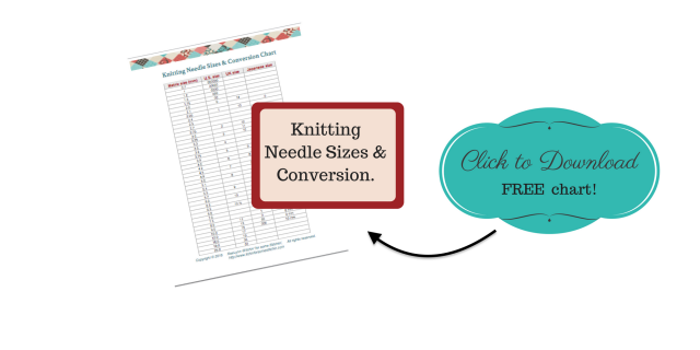 Knitting Needle Sizes & Conversion Chart