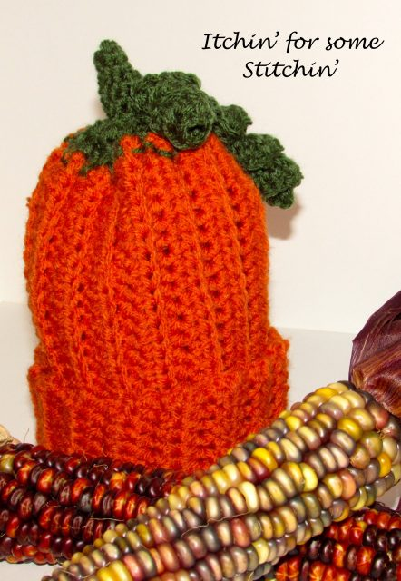 Free Pattern: Easy Crochet Pumpkin Beanie for Babies & Toddlers by Itchin' for some Stitchin'.