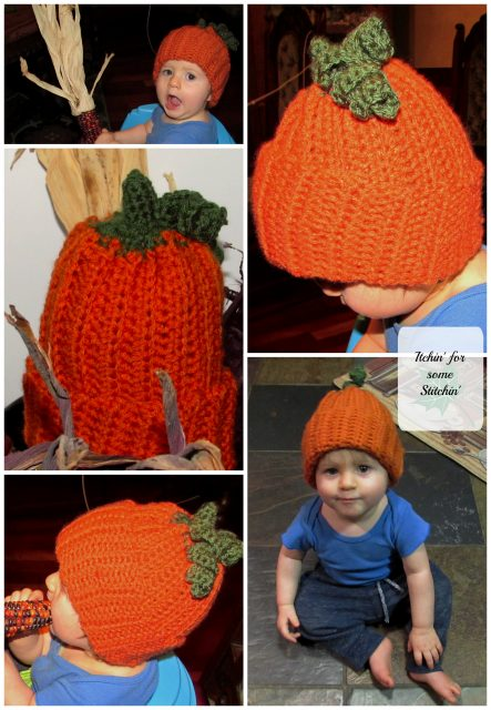 A Free Easy Crochet Pumpkin Hat for Babies and Toddlers by Itchin' for some Stitchin'.