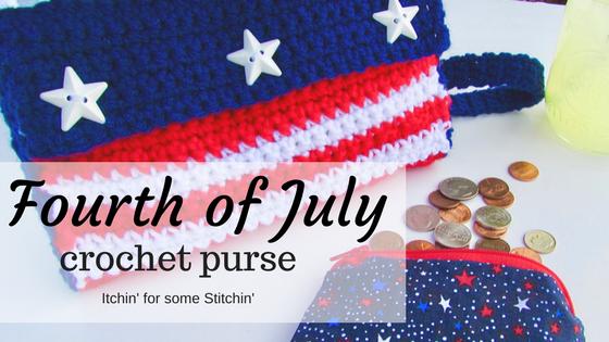 Crochet Fourth of July Purse Pattern by https://www.itchinforsomestitchin.com