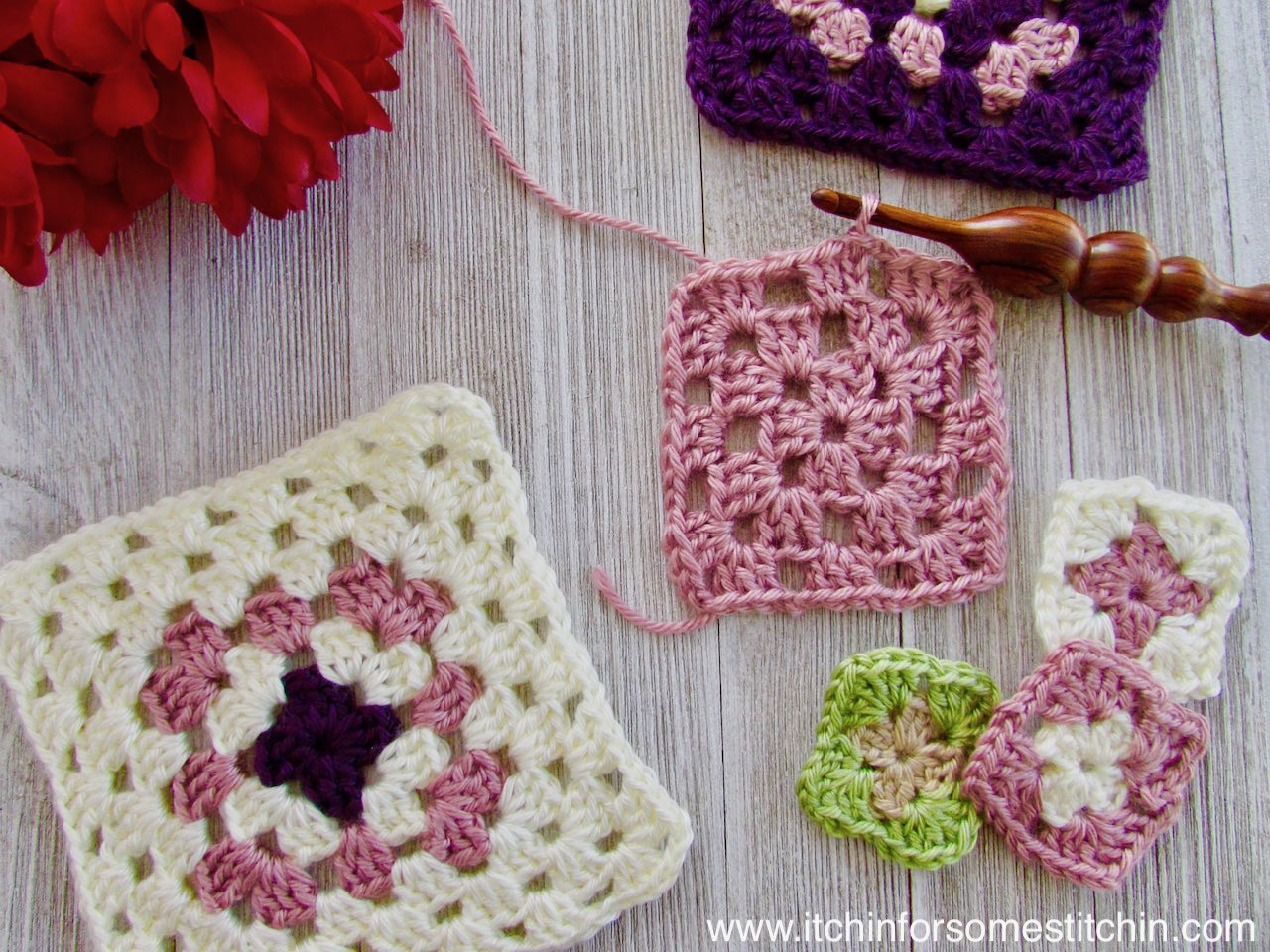 How to Crochet a Basic Granny Square by https://www.itchinforsomestitchin.com