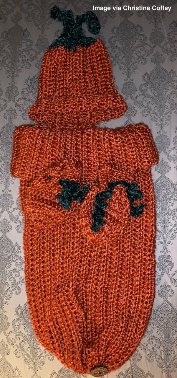 crochet pumpkin newborn hat, mittens, and sleep sack by www.itchinforsomestitchin.com