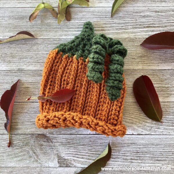 Crochet Pumpkin Baby Hat Pattern by www.itchinforsomestitchin.com