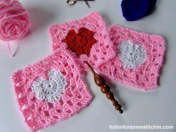 Granny Square Heart Pattern