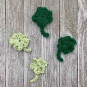 Easy Crochet Shamrock Applique Pattern by itchinforsomestitchin.com