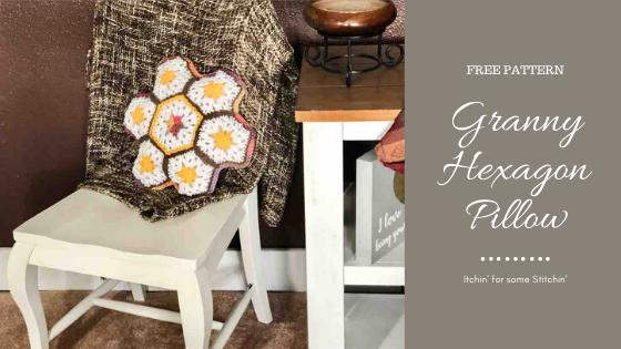 Crochet Granny Hexagon Pillow by itchinforsomestitchin.com