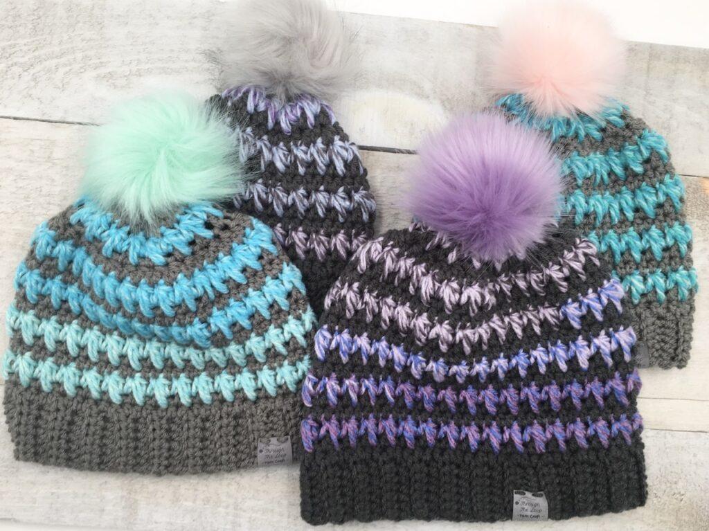 knit-look crochet hat