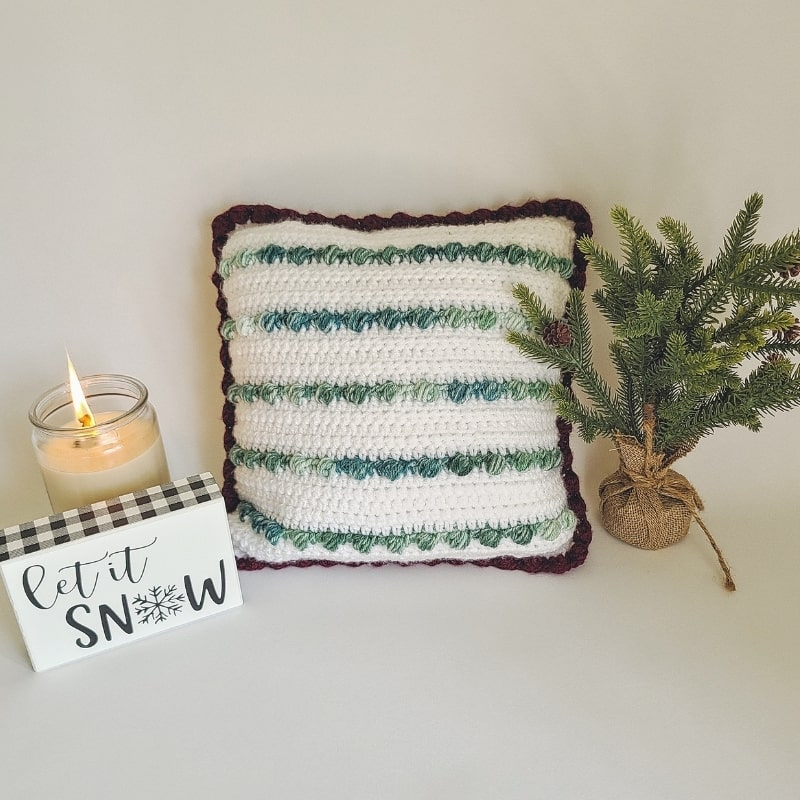 crochet Christmas bobble pillow