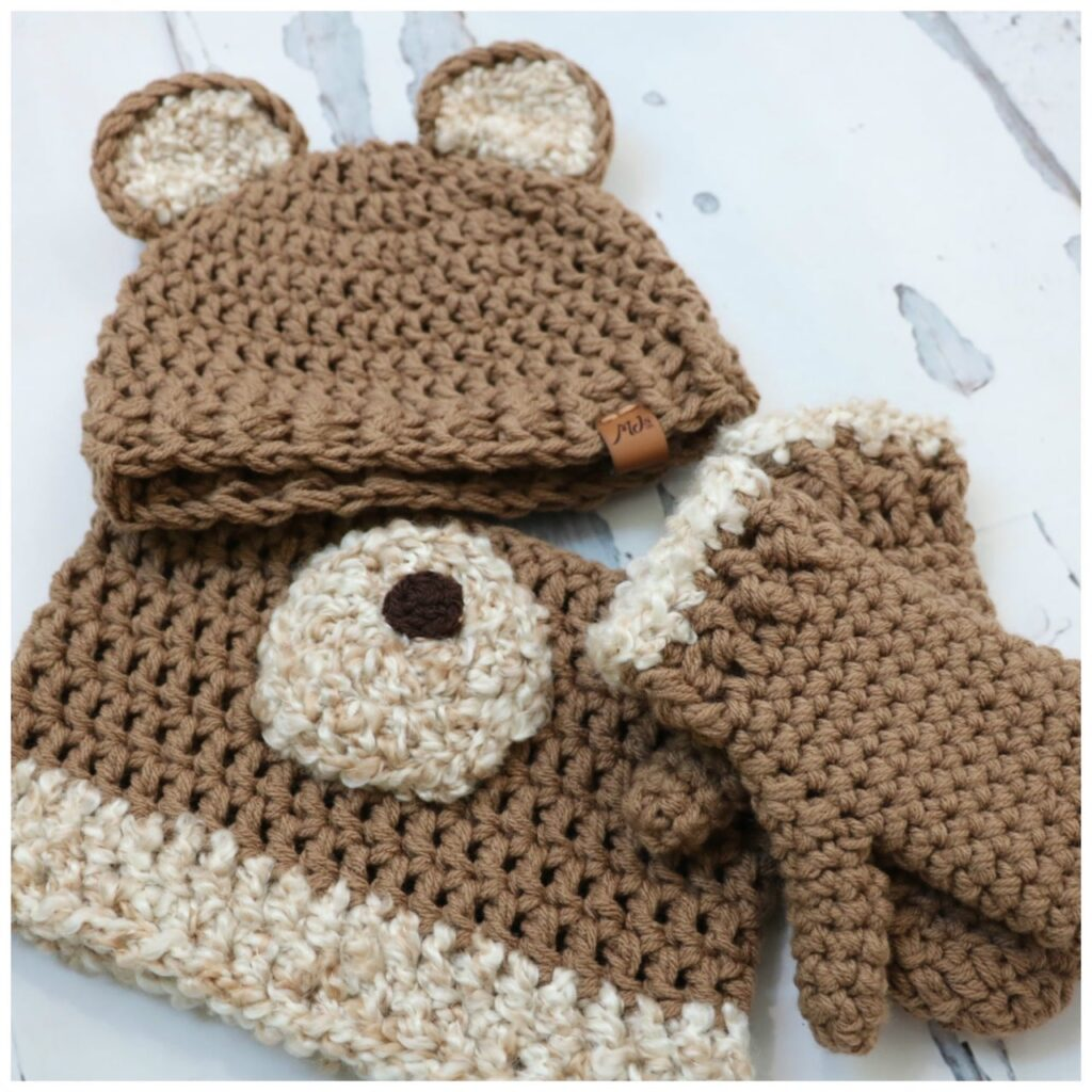 crochet honey bear head set