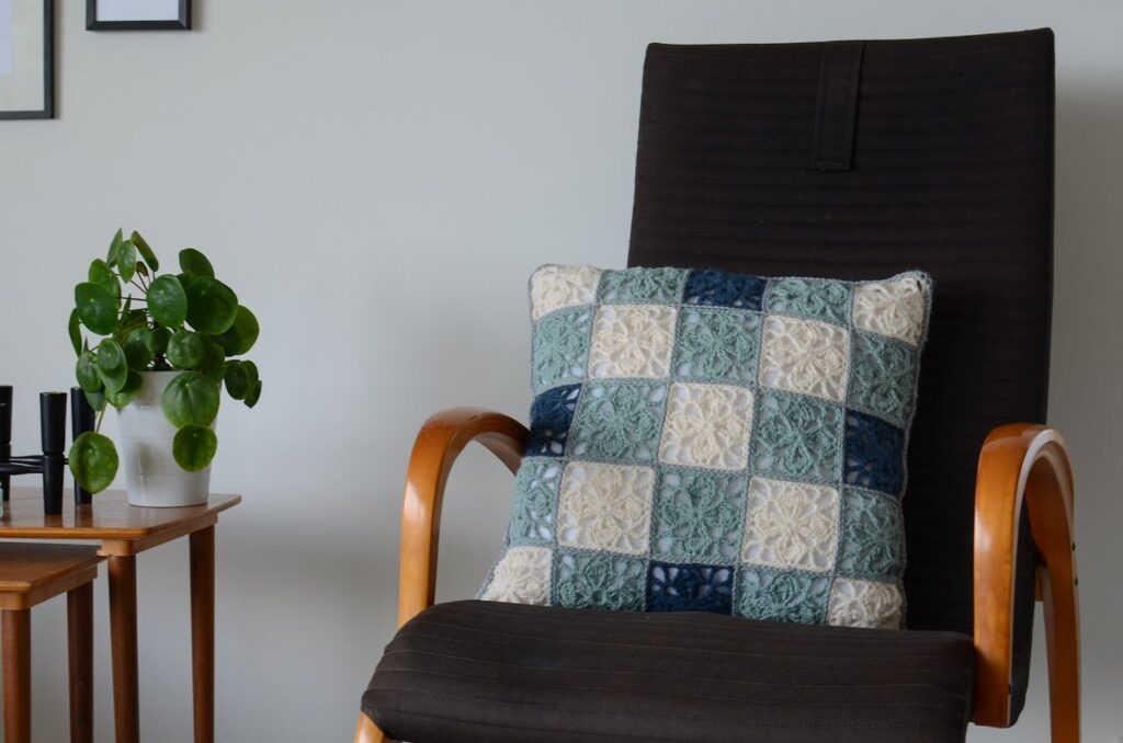 crochet clover leaf  granny square pillow