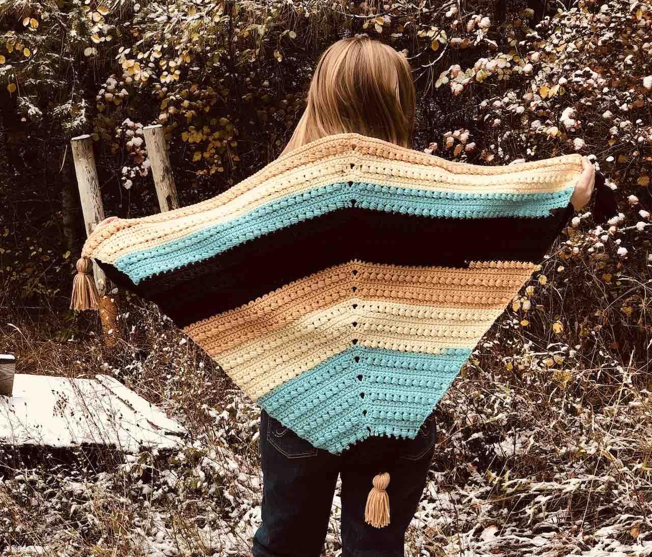 Winter Wonderland Crochet Bead Stitch Triangle Shawl