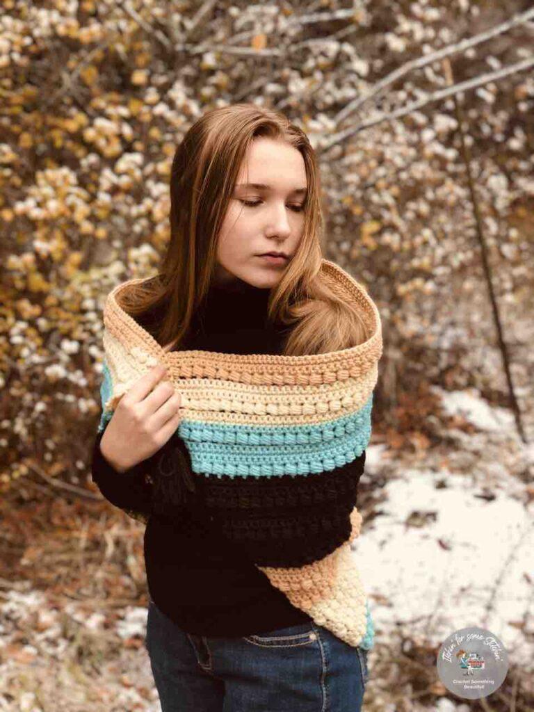 Crochet Bead Stitch Triangle Shawl Winter version by Itchin' for some Stitchin'