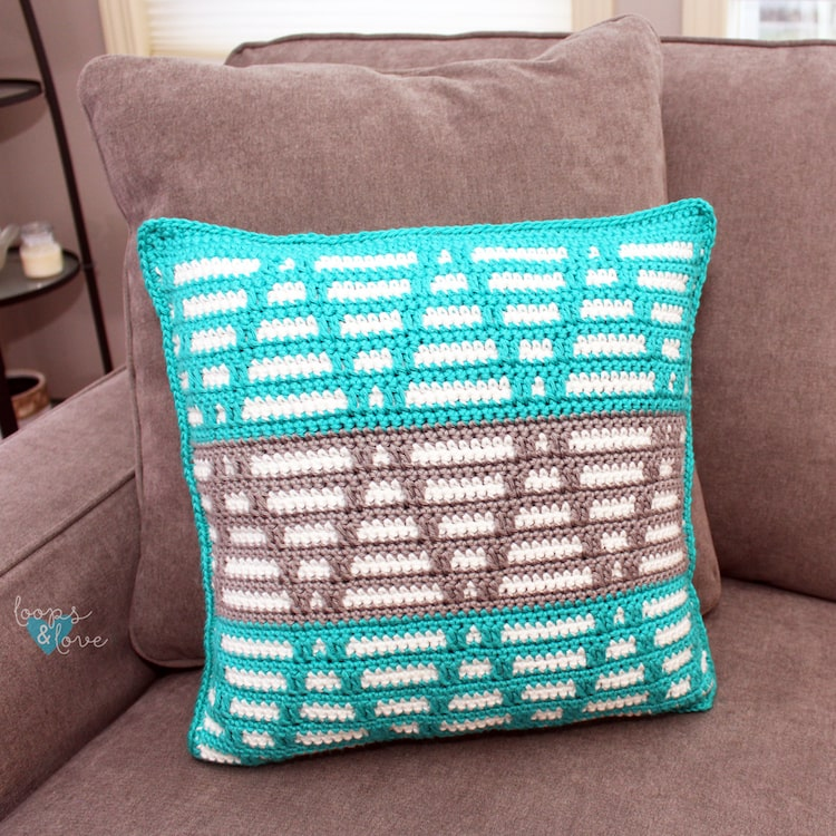 The Mosaic Triangles Pillow by Loops and Love Crochet