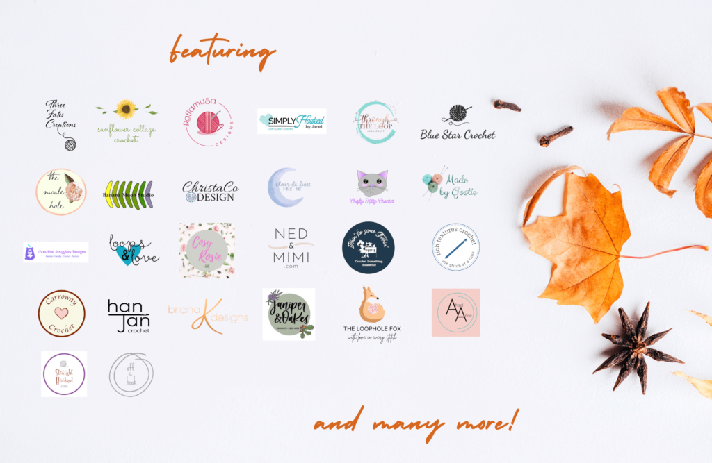 Logos of all the crochet designers who are involved in the blog hop