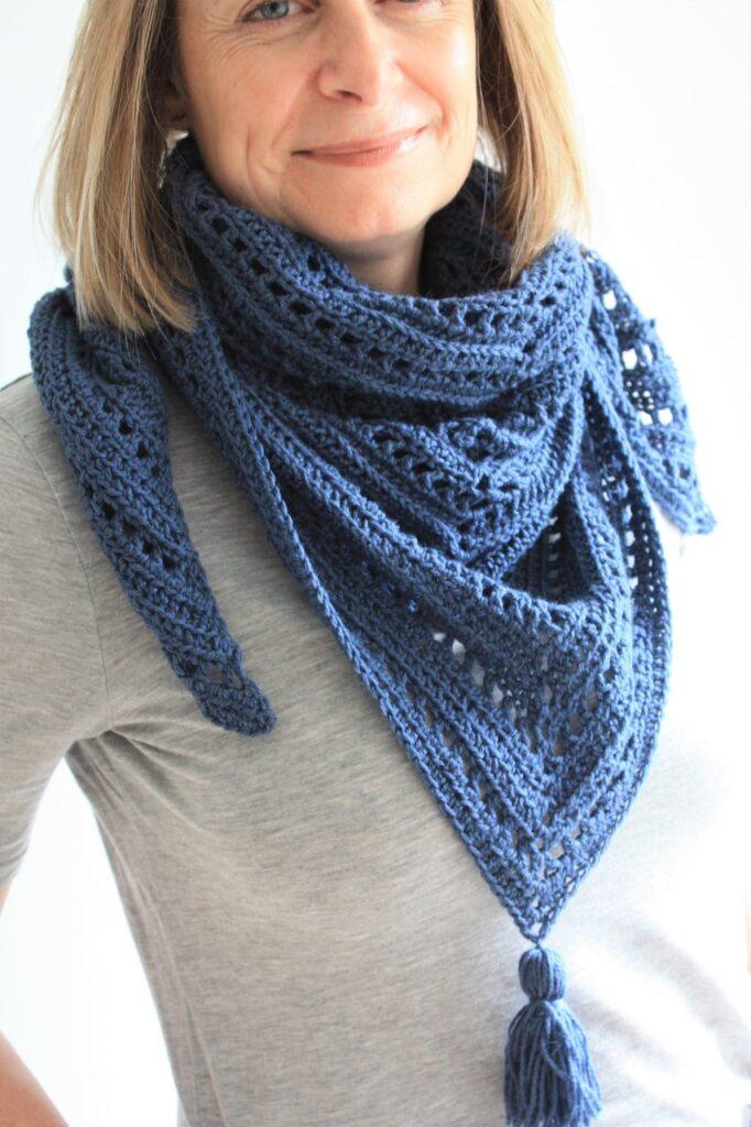The Bracken Ridge Crochet Triangle Scarf by King and Eye