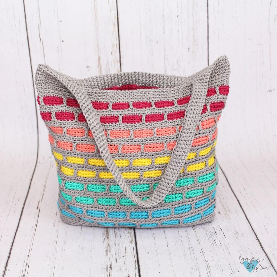 The Mosaic Bricks Crochet Tote Bag by Loops and love Crochet