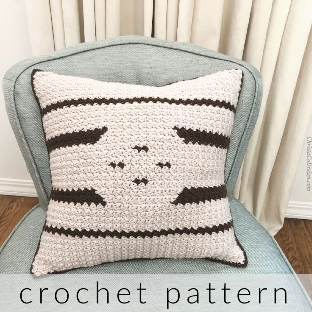 The Trentino Reversible Crochet Pillow by Christa Co. Designs