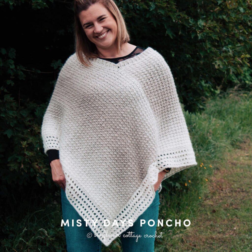 The Misty Days Crochet Poncho by Sunflower Cottage Crochet